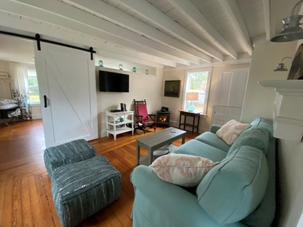 North Eastham Cape Cod vacation rental - Living room with Amazon fire tv and cable.