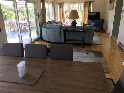 Truro Cape Cod vacation rental - Living room with partial view of dining table