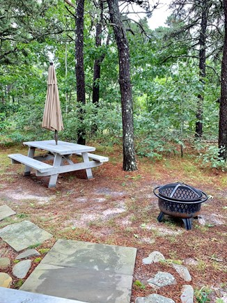Wellfleet Cape Cod vacation rental - Picnic table and fire pit for meals and smores.