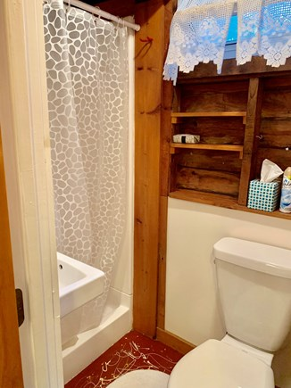 Wellfleet Cape Cod vacation rental - Bathroom with full shower, toilet and sink.
