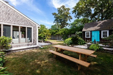 Orleans Cape Cod vacation rental - Large backyard with outdoor seating, outdoor shower and fire pit