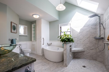Orleans Cape Cod vacation rental - Master bathroom with soaking tub and luxurious rain shower