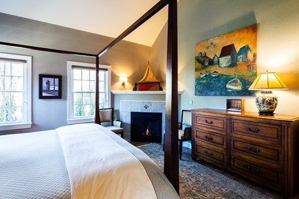 Provincetown Cape Cod vacation rental - View of main bedroom and gas fireplace