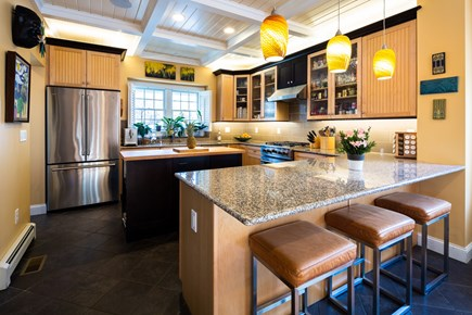 Provincetown Cape Cod vacation rental - Kitchen with 6 leather and chrome stools