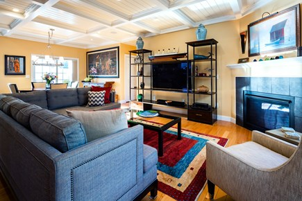 Provincetown Cape Cod vacation rental - Living room with TV and gas fireplace view