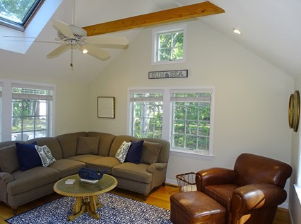 Eastham Cape Cod vacation rental - Vaulted living room with flat screen TV