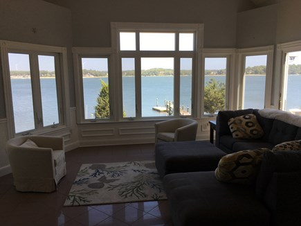 Bourne, Buzzards Bay Cape Cod vacation rental - First floor living room view of bay, queen sofa bed.