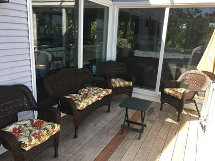 Bourne, Buzzards Bay Cape Cod vacation rental - Deck with furniture and built in gas grill.