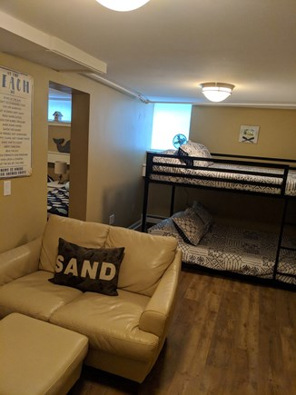 Falmouth Heights Cape Cod vacation rental - Double size bunk beds in finished basement.
