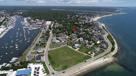 Falmouth Heights Cape Cod vacation rental - Red arrow is our house, walk to beaches, harbor & restaurants.