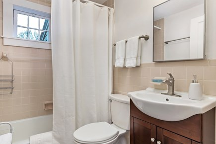 Truro Cape Cod vacation rental - Bright bathroom with shower and tub, with high-quality towels
