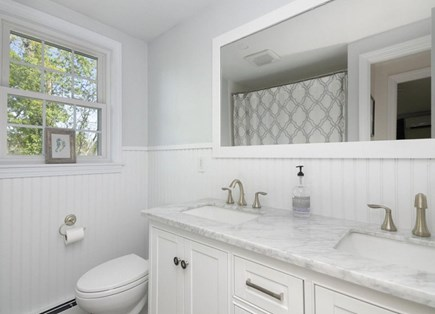 Orleans Cape Cod vacation rental - Recently renovated bathroom with double sinks & full tub-shower