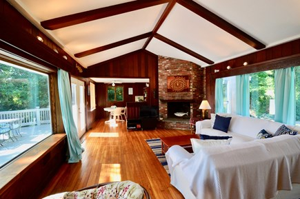 Eastham Cape Cod vacation rental - Main house living area with picture windows to enjoy the view