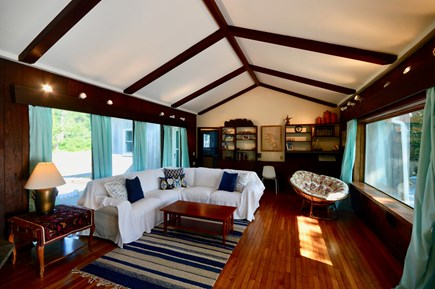 Eastham Cape Cod vacation rental - Main house living area w/ comfortable seating, TV, picture window