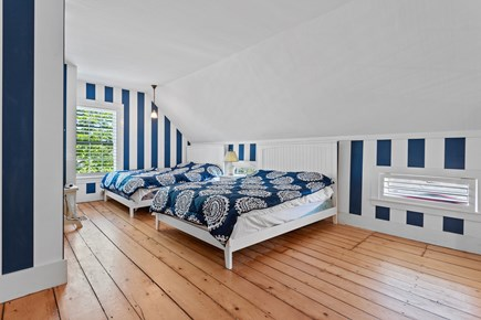 Harwichport Center Cape Cod vacation rental - Blue Cabana Stripe Bedroom