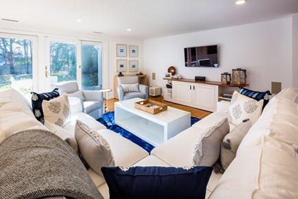 Chatham Cape Cod vacation rental - Living area with sectional sofa & flatscreen TV