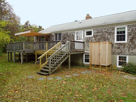 Orleans Cape Cod vacation rental - Back deck showing new outdoor shower and canopy