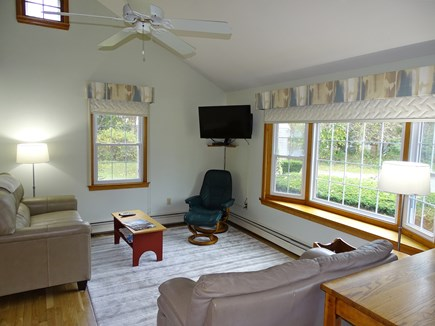 Orleans Cape Cod vacation rental - Vaulted living room with flat screen TV, ceiling fan