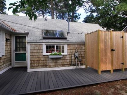 Dennis Port Cape Cod vacation rental - Large outdoor shower and back deck area.