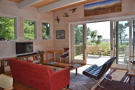 Wellfleet Cape Cod vacation rental - The living room, with expansive glass doors opening onto deck