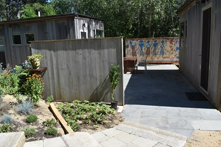 Wellfleet Cape Cod vacation rental - Entry to courtyard, with perennial garden and murals