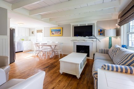 Chatham Cape Cod vacation rental - Living Area With TV Open to The Kitchen