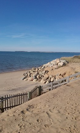 Eastham Cape Cod vacation rental - Bay beach 5 lots up road. Low tides for sandy strolls on flats.