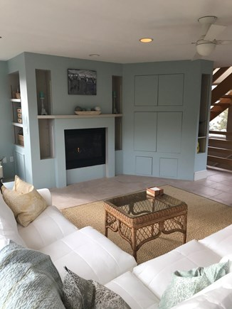 Eastham Cape Cod vacation rental - Living room, couch looks out windows.