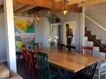 North Truro Cape Cod vacation rental - Dining room with stairs to loft