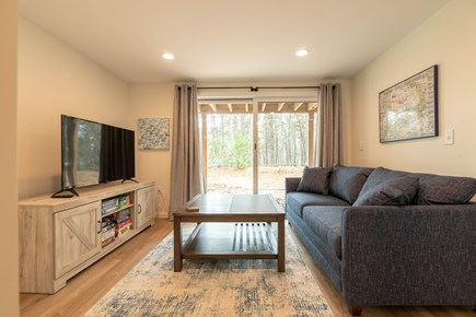 Wellfleet Cape Cod vacation rental - Lower level family room with sleeper sofa, TV and sliders to yard