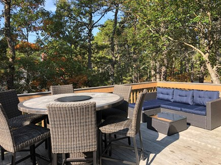 Wellfleet Cape Cod vacation rental - New 6 person table with fire pit / New outdoor lounge set