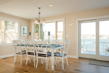 Dennis, Bass River Cape Cod vacation rental - Dining room with seating for 8 overlooking deck, beach, and water