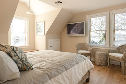 Dennis, Bass River Cape Cod vacation rental - Second floor master bedroom suite with queen bed w/ water view