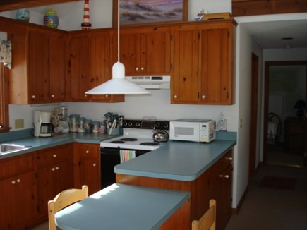 Wellfleet Cape Cod vacation rental - Kitchen open to living areas, breakfast bar too.