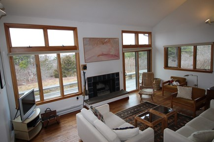 Truro Cape Cod vacation rental - Living Room Looks out to the Bay and Sunsets