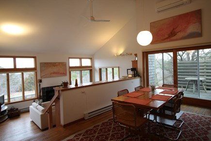 Truro Cape Cod vacation rental - Dining Table has 2 leaves to seat 10 people; Opens to Side Deck