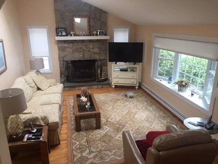 Mashpee, Popponesset Cape Cod vacation rental - Step down living room with fireplace and a 40 inch flat screen TV