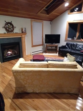 Wellfleet Cape Cod vacation rental - Living room w/vaulted ceiling, skylights, and fireplace