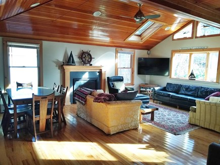 Wellfleet Cape Cod vacation rental - Living room with cathedral ceiling, fan and skylights
