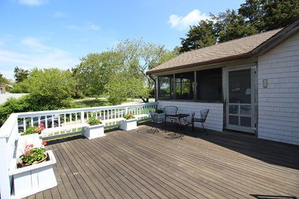East Dennis Cape Cod vacation rental - Partial view of deck off screen porch