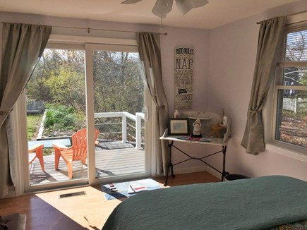North Eastham Cape Cod vacation rental - Second bedroom with a Queen bed and sliding door to private deck