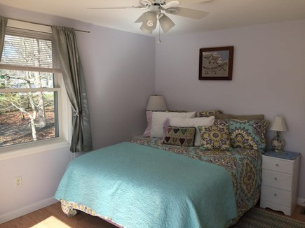North Eastham Cape Cod vacation rental - Second Queen Bedroom, with glass doors leading to private deck.