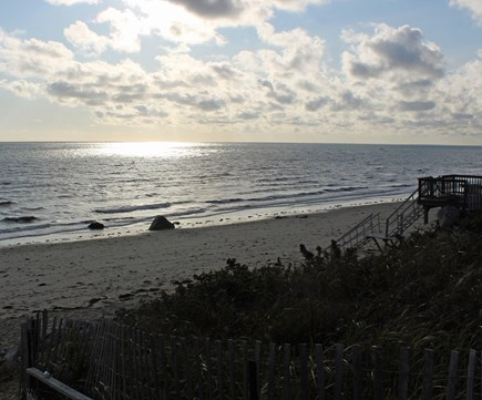 Manomet, Plymouth MA vacation rental - Stairs to the beach, and glorious clouds over Cape Cod Bay