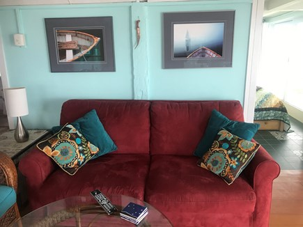 Provincetown, Bull Ring Wharf Oceanfront Cape Cod vacation rental - Comfy couch with queen sized pull out bed