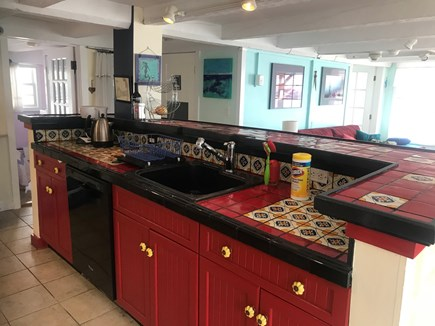 Provincetown, Bull Ring Wharf Oceanfront Cape Cod vacation rental - Kitchen island, showing dishwasher