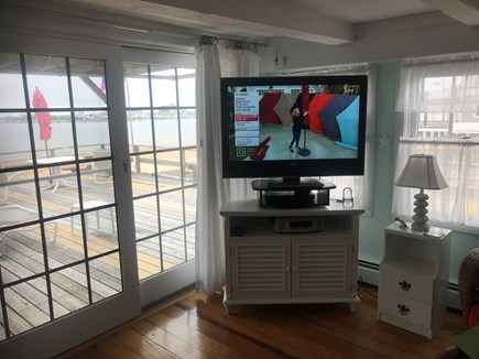 Provincetown, Bull Ring Wharf Oceanfront Cape Cod vacation rental - Living room with TV