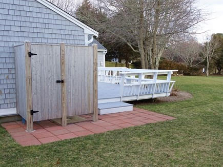 East Dennis Cape Cod vacation rental - Outdoor shower near large deck