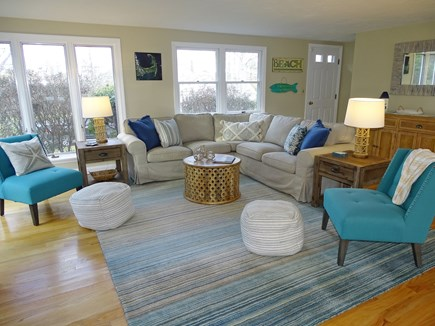 East Dennis Cape Cod vacation rental - Enter to bright living room with new furniture, hardwood floors