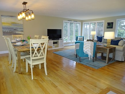 East Dennis Cape Cod vacation rental - Living area with TV, opens to dining room