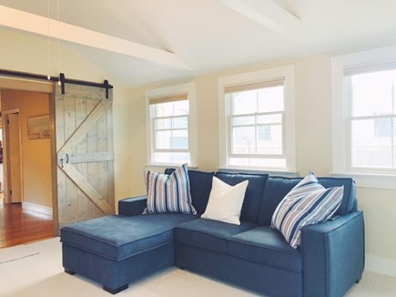 Dennis Port Cape Cod vacation rental - Great Barn Doors to close off sun room for privacy